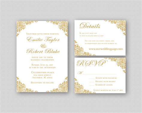 Pages Wedding Invitation Template by Wedding Invitations Gold Wedding Invitation Suite