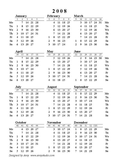 printable yearly calendar by week 2008 free printable yearly alendar