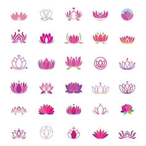 lotus logo set vector premium download