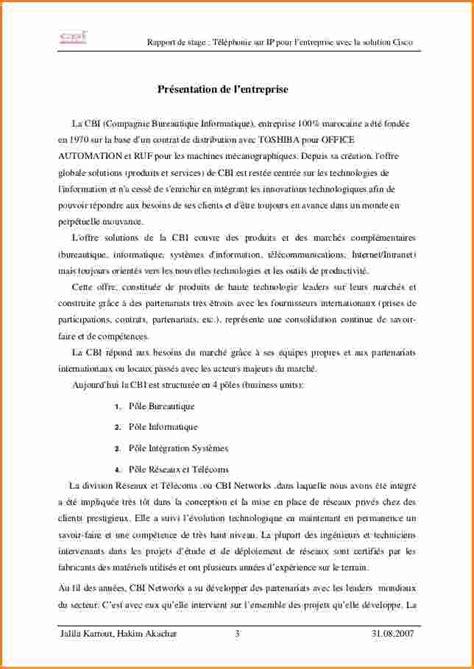 Lettre De Presentation Nouvelle Entreprise 7 Pr 233 Sentation D Une Entreprise Rapport De Stage Exemple Lettres