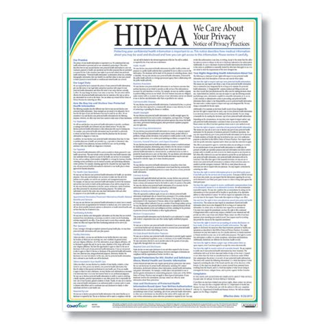 printable hipaa poster hipaa notice of privacy practices poster
