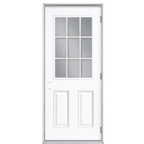 Pre Hung Exterior Doors Shop Reliabilt 9 Lite Prehung Outswing Steel Entry Door Common 30 In X 80 In Actual 31 5 In