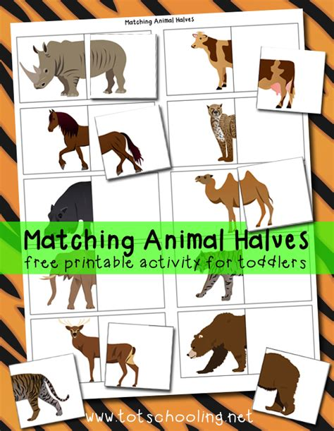 printable toddler matching games matching animal halves printable activity totschooling
