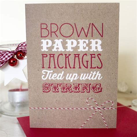 brown paper packages christmas card  lovely cuppa notonthehighstreetcom