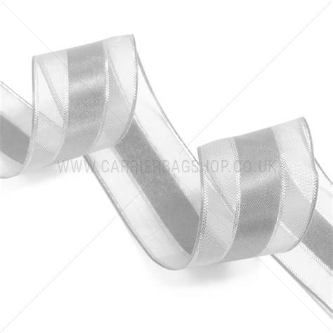 Ribbon Silver silver sheer and satin ribbons from carrier bag shop tone