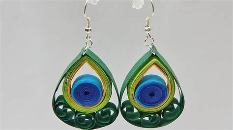 paper quilling peacock feather tutorial how to make quilling peacock feather earrings diy