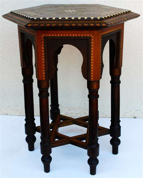 Moroccan Side Table Hexagonal Moroccan Antique Inlay Side Table Moorish