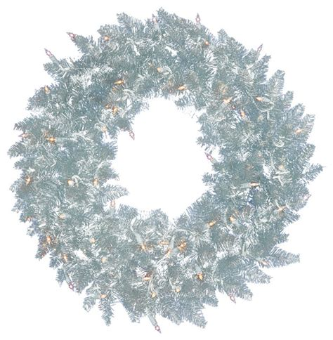 pre lit wreaths and garlands pre lit silver spruce tinsel wreath