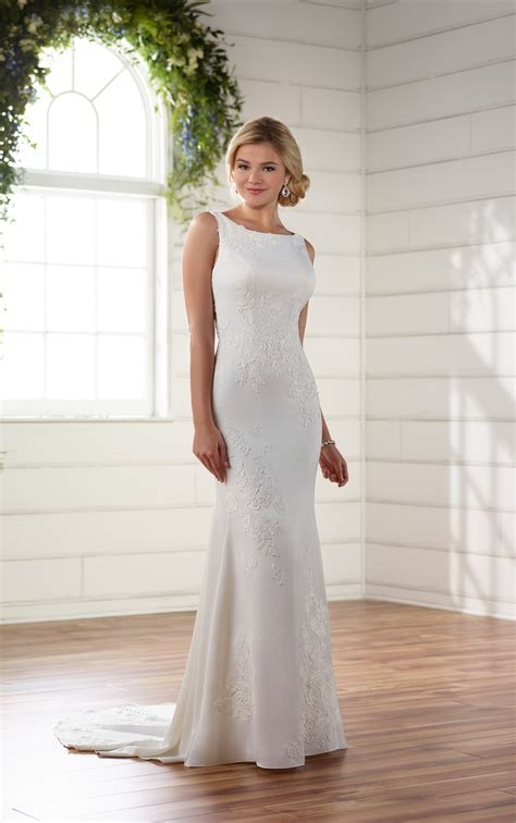 simple classic lace wedding dress essense  australia