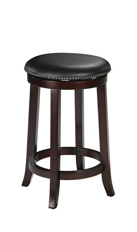 chelsea wood 24 h backless swivel bar stool with black