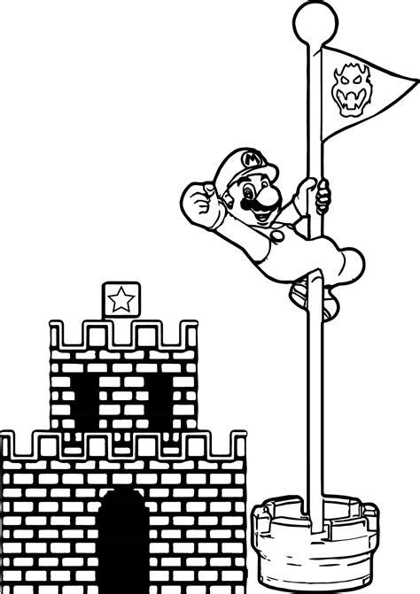 Mario Castle Coloring Pages | super mario castle pole coloring page wecoloringpage