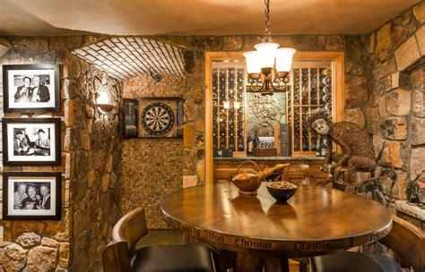 Stone Veneer Kitchen Backsplash Magnificent Electronic Dart Board In Wine Cellar Rustic