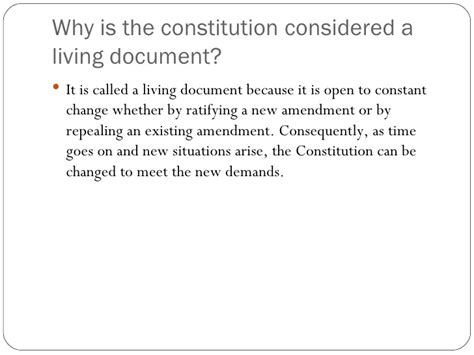 Why Is The Constitution A Living Document