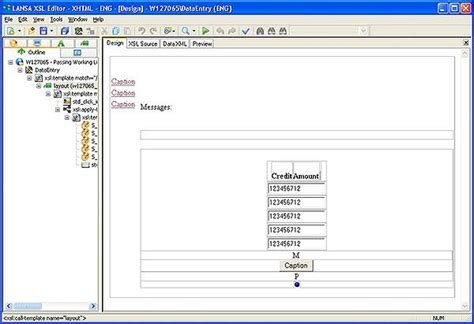 xsl layout editor formatting disappears from design screen in xsl editor lansa