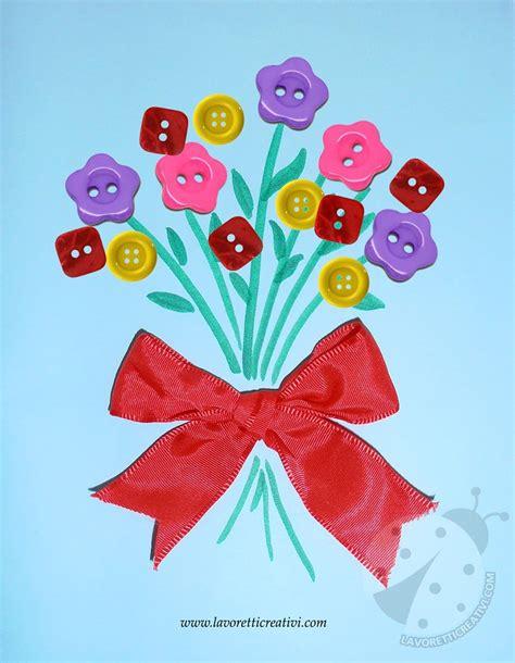 bambini fiori bouquet di fiori con bottoni lavoretti creativi