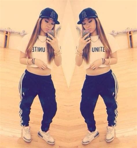 girl with swag and jordans outfit pants sweatpants girl swag hip hop shirt l a