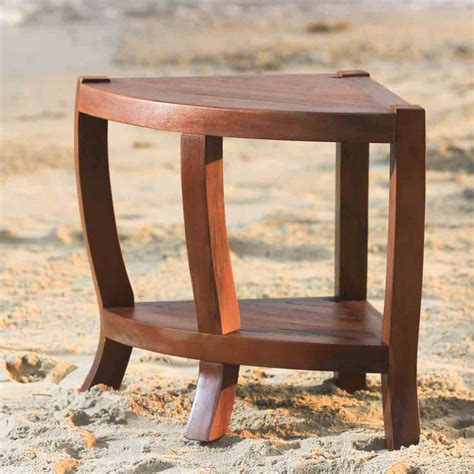 Teak Corner Shower Stool by Solid Teak Corner Shower Bench Chair With Shelf