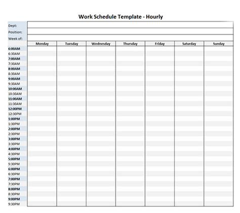 Work Schedule Template Hourly For Week Microsoft Excel Hourly Schedule Template