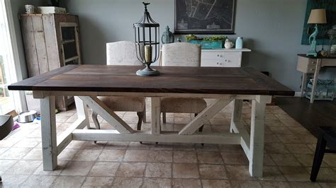 farm dining table plans white 4x6 truss beam farm table diy projects