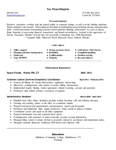 Professional Summary For Clerical Resume Sue Kluglein Clerical Resume