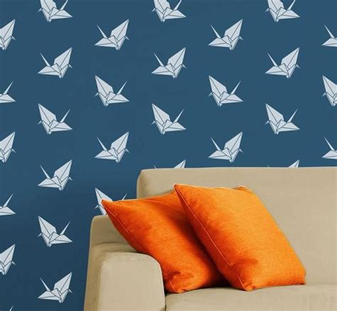 Modern Origami - diy stencil origami crane modern reusable wall stencil