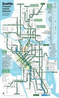 Seattle Light Rail Map by Seattle Frequent Transit Map
