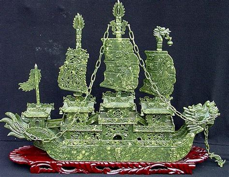 jade dragon boat carving jade dragon boat carving handmade in china for sale j53
