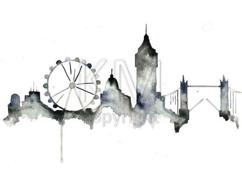watercolor tattoos london skyline print from original watercolor