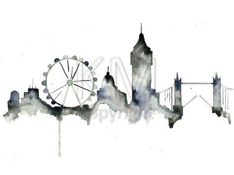 watercolor tattoo london skyline print from original watercolor