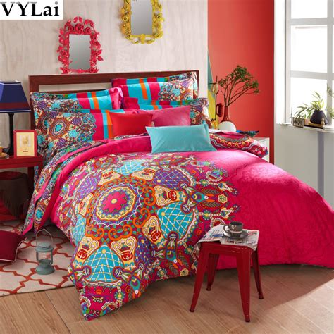 boho bed comforters aliexpress com buy luxury red 5pcs boho bedding sets