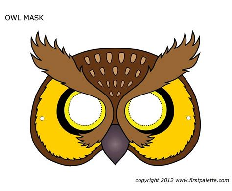 Masker Animal printable owl mask