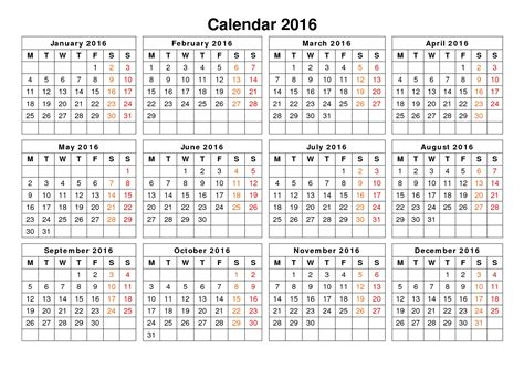 Printable Calendar 2016 Single Page | 2016 calendar printable one page activity shelter