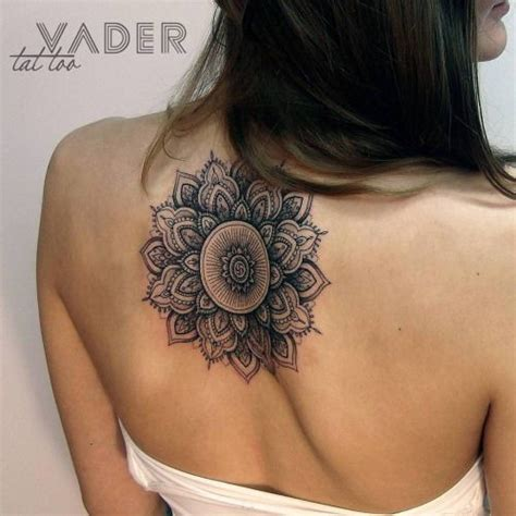henna tattoo upper back mandala on the back artist tatiana