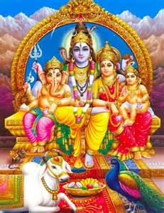 Shiva with his wife parvathi and sons ganesha amp karthikeya