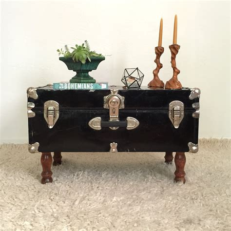 Black Trunk Coffee Table Upcycled Trunk Table Black Steamer Trunk Coffee Table