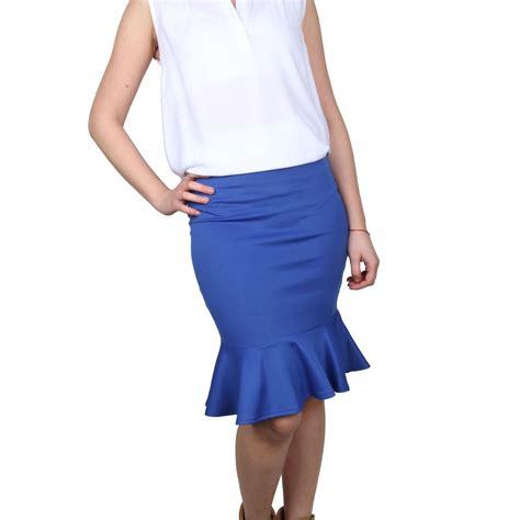 womens fishtail midi skirt slip on stretchy midi