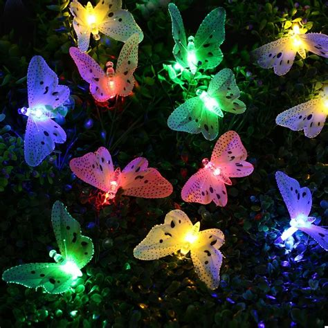 12 LED Multi Color Butterfly Solar String Lights Fiber