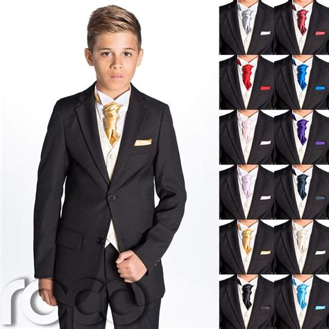 Square Suit boys black suit boys cravat pocket square page boy
