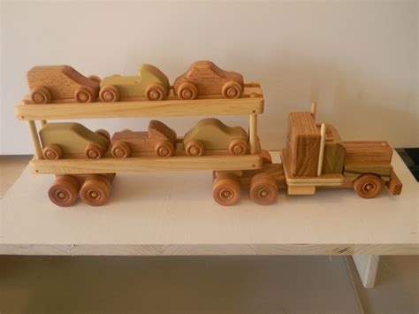 Handmade Wooden Cars - wooden truck handmade 18 wheeler car carrier truck