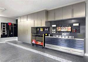 manly garage designs with cool wall storage cabinets and slat board ideas images
