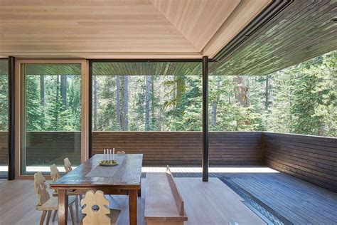 large sliding glass doors blur the lines between the