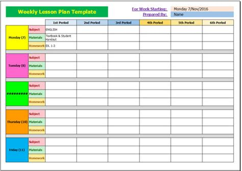 lesson plan template exle free weekly lesson plan template for excel 2007 2016