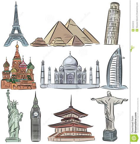 7 Architectural Wonders Of 2010 by Architectural Wonders Of The World Collection Stock Vector
