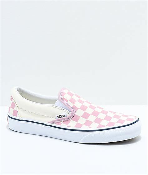 light blue and pink vans vans slip on zephyr pink white checkered skate shoes