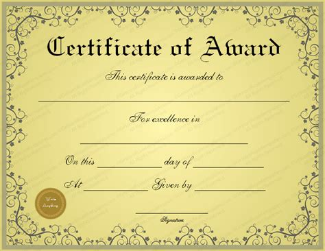 Award Certificate Template by Free Golden Formal Award Certificate Template