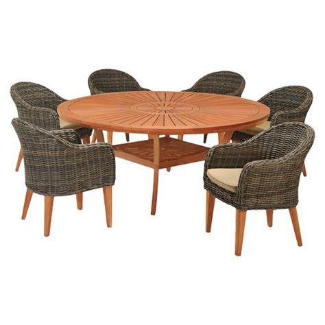 Guam 2 pk. Wood & Wicker Patio Dining Chairs : Target
