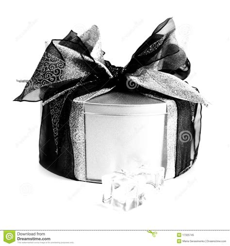 Metal Gifts - metal gift box with decorations royalty free stock