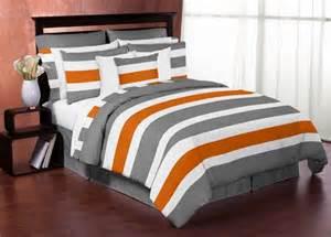 Grey Striped Duvet Cover Gray And Orange Stripe 4pc Teen Twin Bedding Set