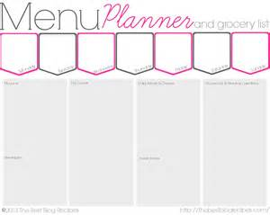 menu planner with grocery list template free menu planner and grocery list printable the best