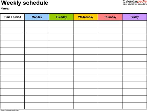 Planner Memo Schedule Medium view weekly schedule template